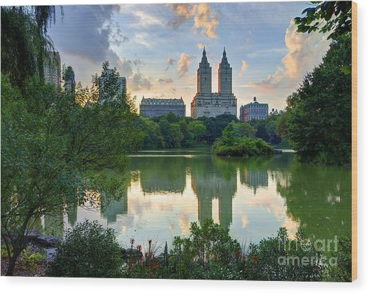 Upper West Side Skyline From Central Wood Print