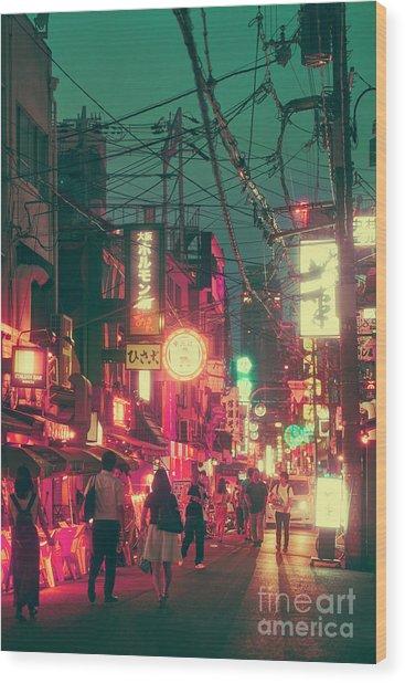 Ura Namba Street Nightlife Osaka Japan Wood Print