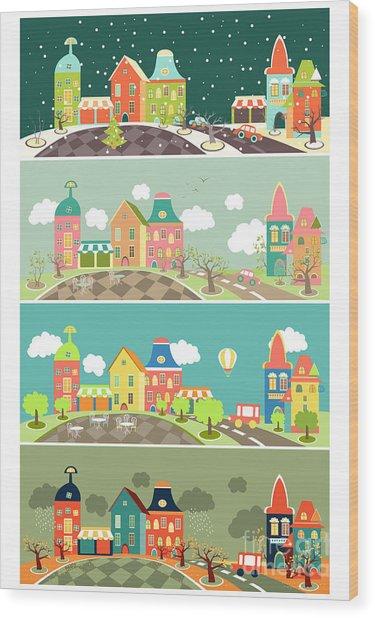 Urban Landscape Of Four Seasons. Vector Wood Print