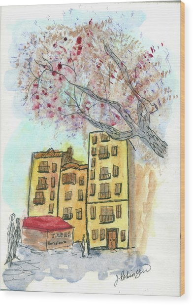 Urban Sketch In Barcelona Wood Print
