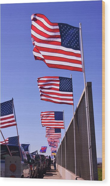 U.s. Flags, Presidents Day, Central Valley, California Wood Print