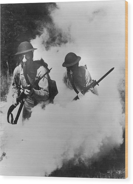 Us Infantry Wood Print by Hulton Archive