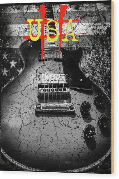 Wood Print featuring the digital art Usa Flag Guitar Relic by Guitar Wacky