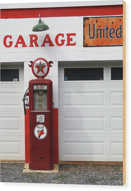Usa, Gas Station Wood Print by Marcel Jolibois