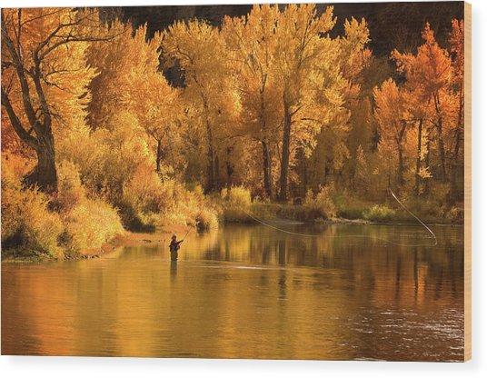 Usa, Idaho, Salmon River, Mature Man Wood Print