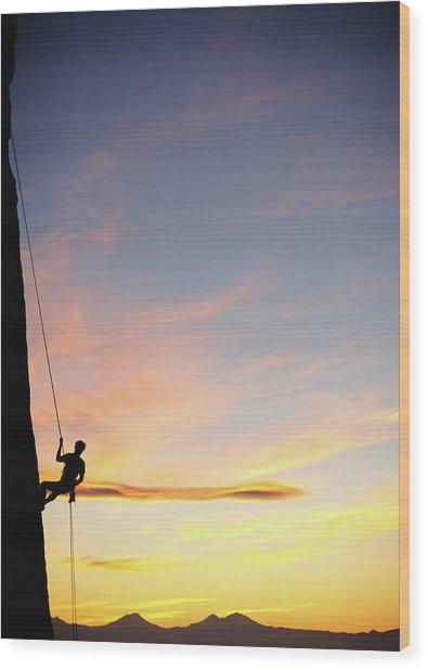 Usa, Oregon, Male Rock Climber Wood Print
