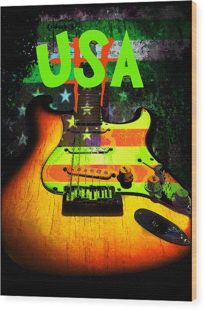 Wood Print featuring the digital art Usa Strat Guitar Music Green Theme by Guitar Wacky