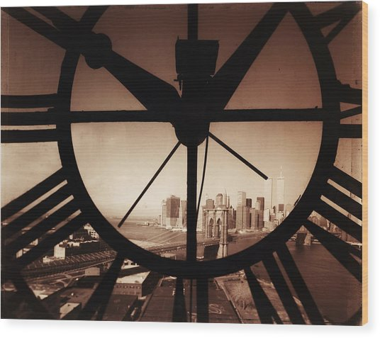 Usa,new York City, Brooklyn Bridge And Wood Print by Russell Kaye/sandra-lee Phipps