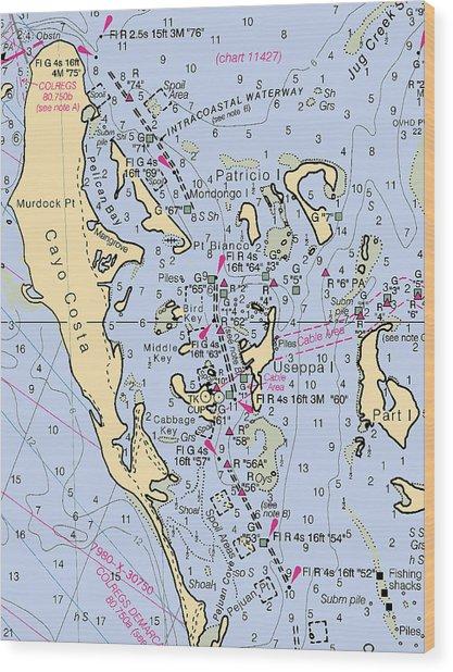 Useppa,cabbage Key,cayo Costa Nautical Chart Wood Print