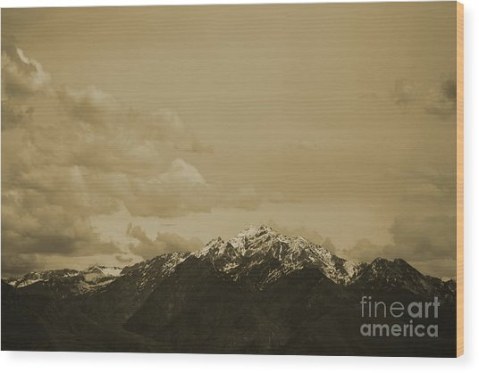 Utah Mountain In Sepia Wood Print