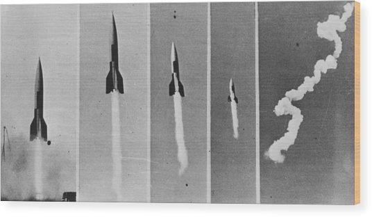 V-2 Bomb In Flight Wood Print by Keystone