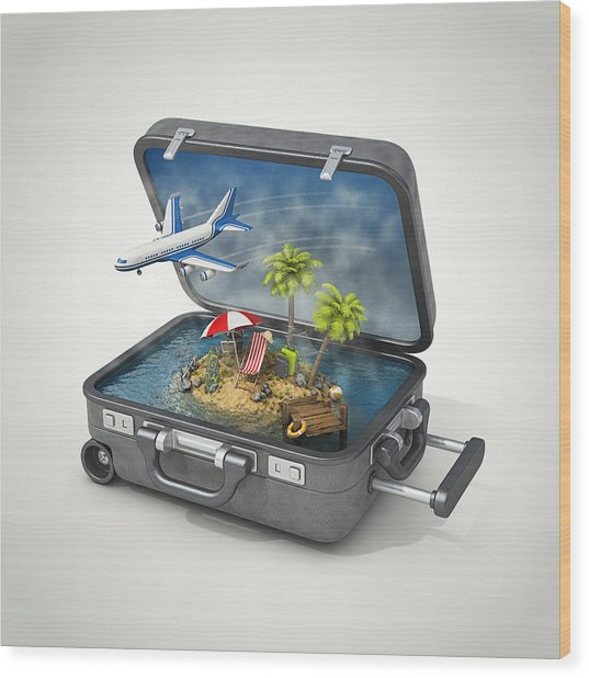 Vacation Island In Suitcase Wood Print by Pagadesign