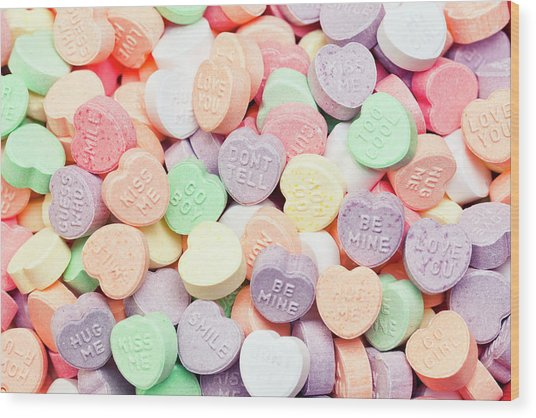 Valentines Candies With Message Wood Print by Kativ