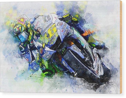 Valentino Rossi - 20 Wood Print