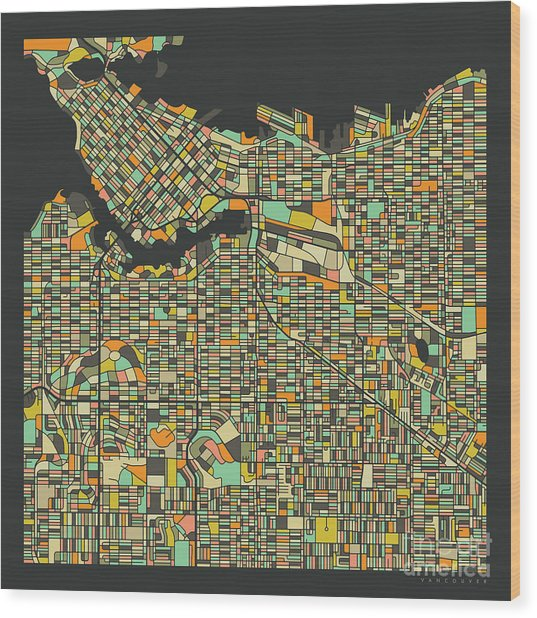 Vancouver Map 2 Wood Print by Jazzberry Blue