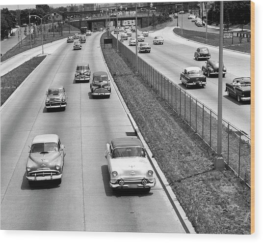 Various American Autos On Highway Wood Print by George Marks