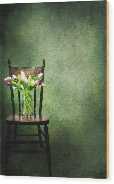 Vase Of Tulips On Old Chair Wood Print