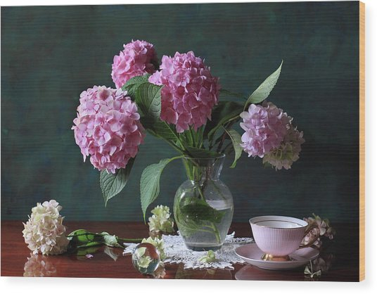Vase With Hortensia Flowers Wood Print by Panga Natalie Ukraine