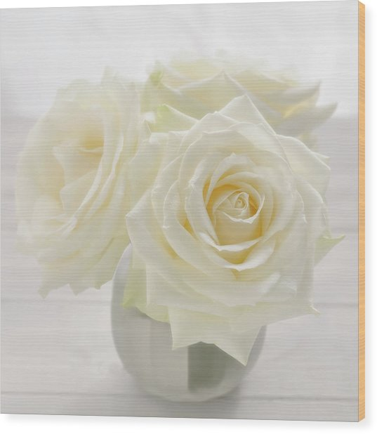 Vase With Tree White Roses On A Sunny Wood Print by Cora Niele