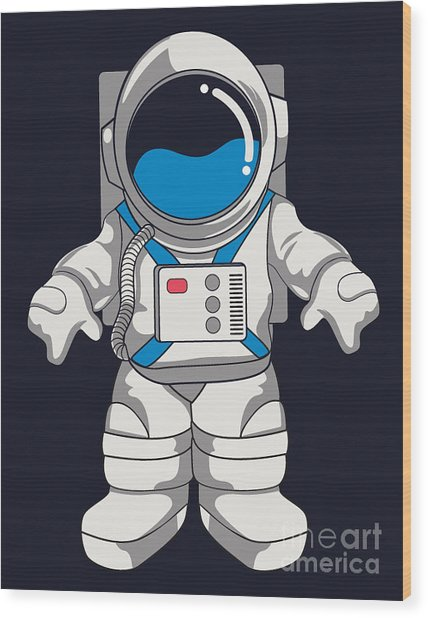 Vector Astronaut Design Wood Print