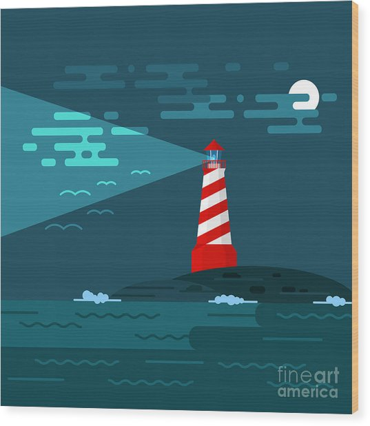Vector Background With Lighthouse, Sea Wood Print