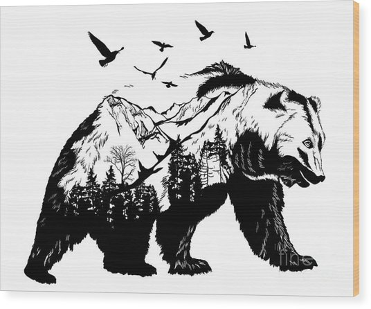 Vector Double Exposure, Bear For Your Wood Print