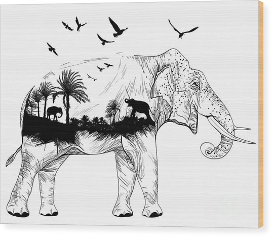 Vector Double Exposure, Elephant For Wood Print