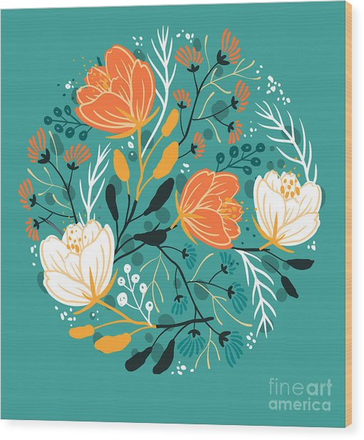 Vector Floral Illustration Of Blooming Wood Print