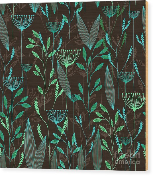 Vector Grass Seamless Pattern Wood Print
