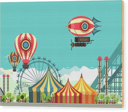Vector Illustration Carnival Circus Wood Print by Marrishuanna