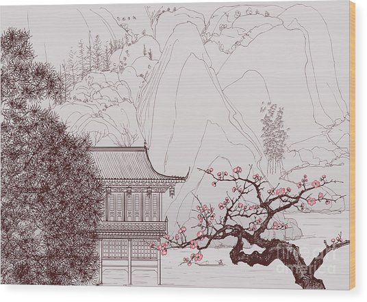Vector Illustration Of A Chinese Wood Print