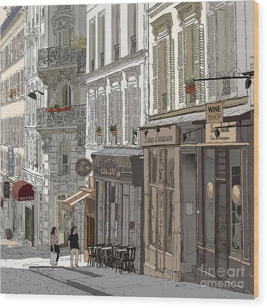 Vector Illustration Of A Street In Wood Print