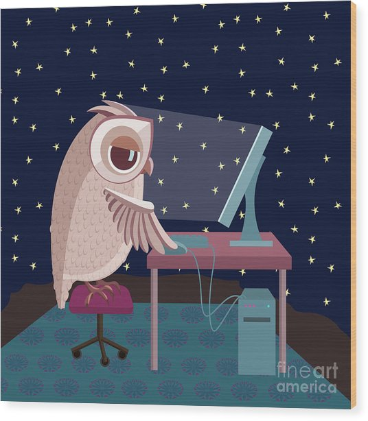 Vector Illustration. Owl Working On The Wood Print