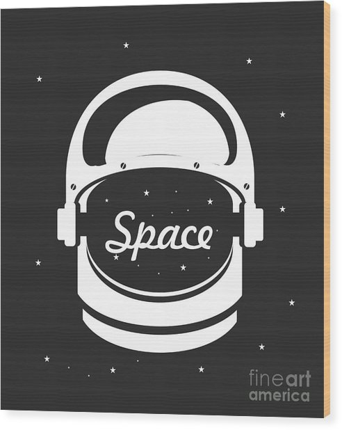 Vector Illustration Poster Space Helmet Wood Print