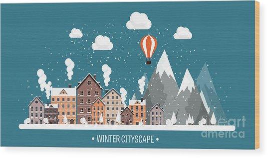 Vector Illustration. Winter Urban Wood Print by 32 Pixels