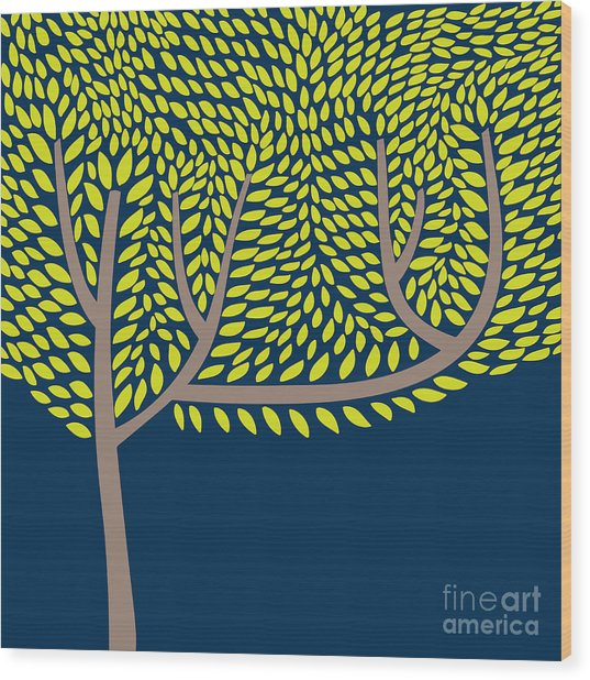 Vector Illustration With Abstract Tree Wood Print