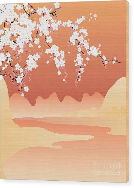 Vector Japan Background Wood Print