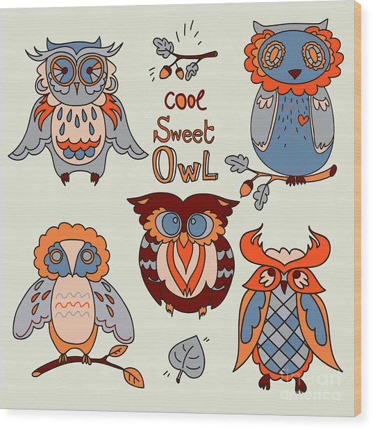 Vector Owl Set Wood Print