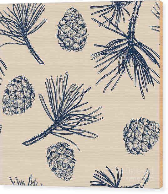 Vector Pinecone Pattern Seamless, Hand Wood Print