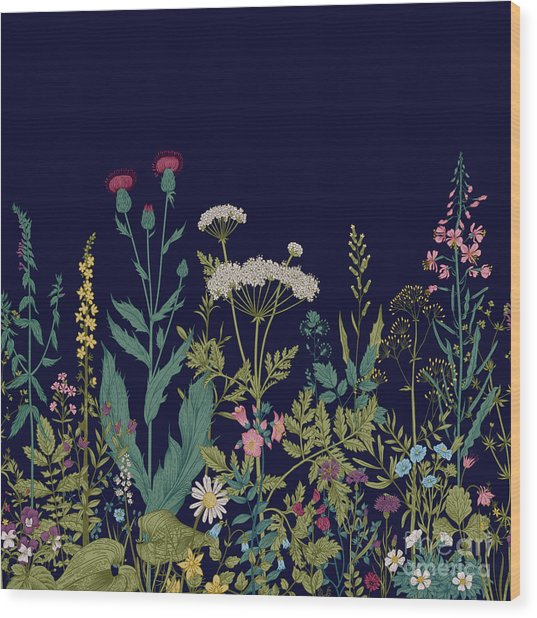 Vector Seamless Floral Border. Herbs Wood Print