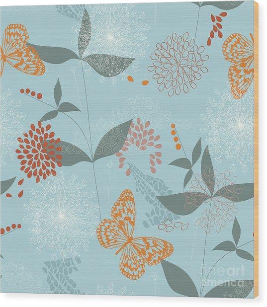 Vector Seamless Pattern Of Flowers Wood Print