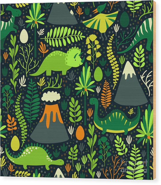 Vector Seamless Pattern With Different Wood Print