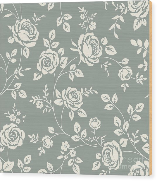 Vector Seamless Pattern With Flowers Wood Print