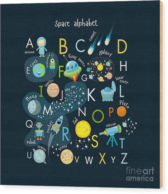 Vector Space Alphabet Wood Print