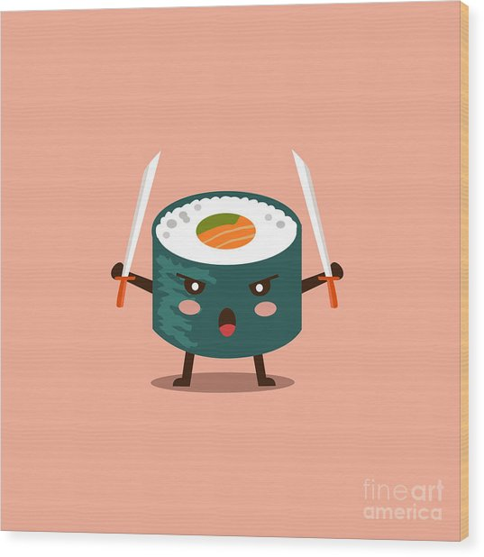 Vector Sushi Cartoon Character Wood Print