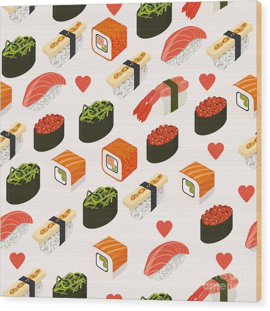 Vector Sushi Menu Template With Wood Print