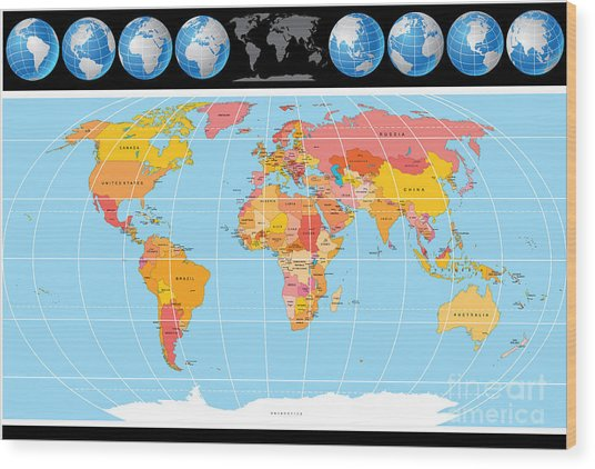 Vector World Map With Globes Wood Print