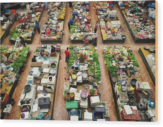 Vegetable Market In Kota Bharu Wood Print