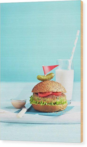 Vegetarian Burger Wood Print