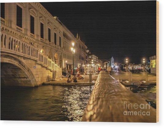 Venice At Night. San Marco Wood Print